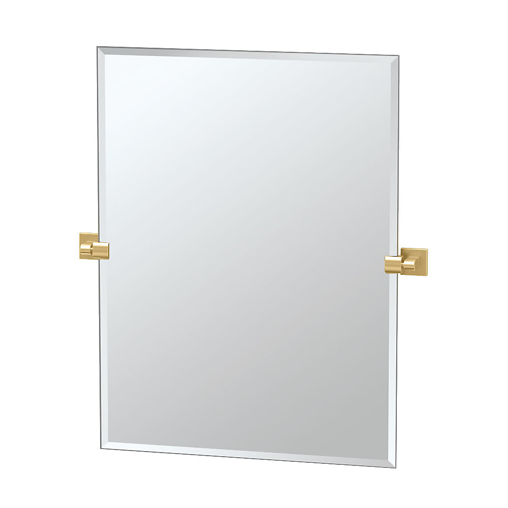 Elevate 31 1/2 inch H Frameless Rectangle Mirror Brushed Brass