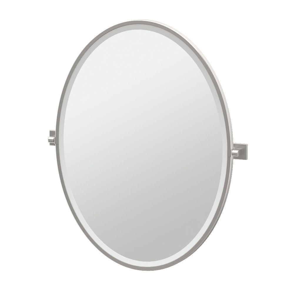 Gatco Elevate 33 inch H Framed Oval Mirror Satin Nickel