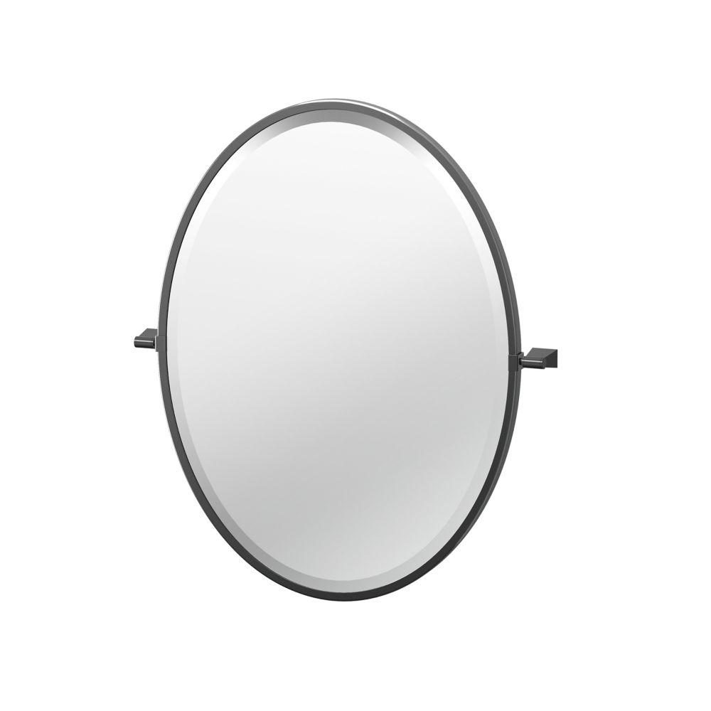 Gatco Bleu 27 1/2 inch H Framed Oval Mirror Matte Black