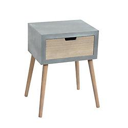 Art Maison Canada 14x17x11 BLEU, Pine wood legs, Firwood veneer End table with drawer