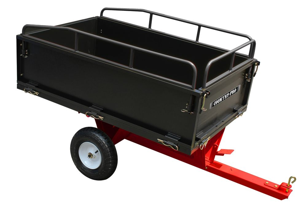 COUNTRY PRO Cart Dump 14 cu. ft. Tow Behind Dump Cart W/Rails And 16In Tires