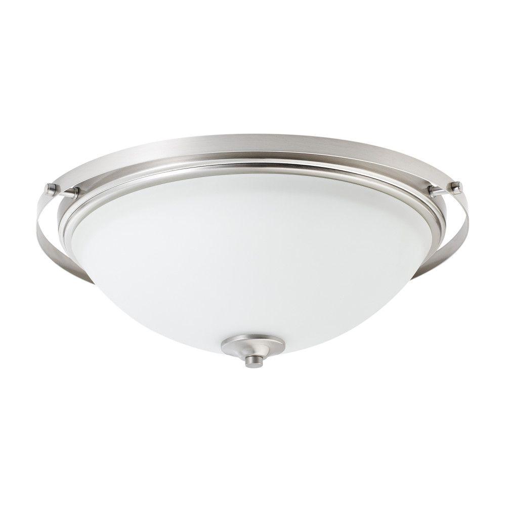 Globe Electric Aster 2-Light Brushed Steel Flush Mount Ceiling Light