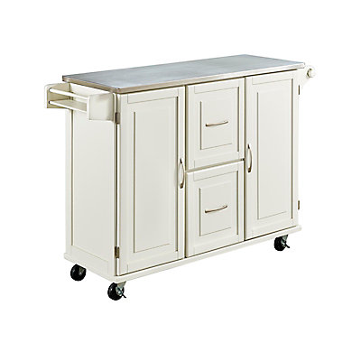 Home Styles Patriot White Kitchen Cart | The Home Depot Canada