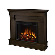 Chateau Electric Fireplace Mantel in Dark Walnut