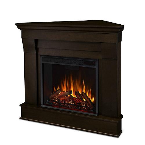 Chateau Corner Electric Fireplace Mantel in Dark Walnut