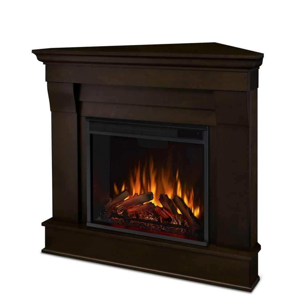Real Flame Chateau Corner Electric Fireplace Mantel in Dark Walnut