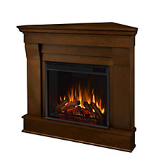 Chateau Corner Electric Fireplace Mantel in Espresso