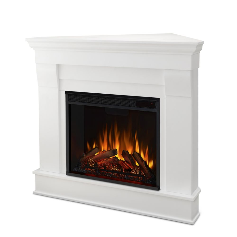Cau Corner Electric Fireplace Mantel In White Photo Of Product