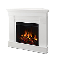 Chateau Corner Electric Fireplace Mantel in White