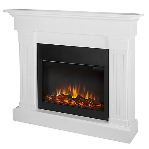 Crawford Slim Line Electric Fireplace in White