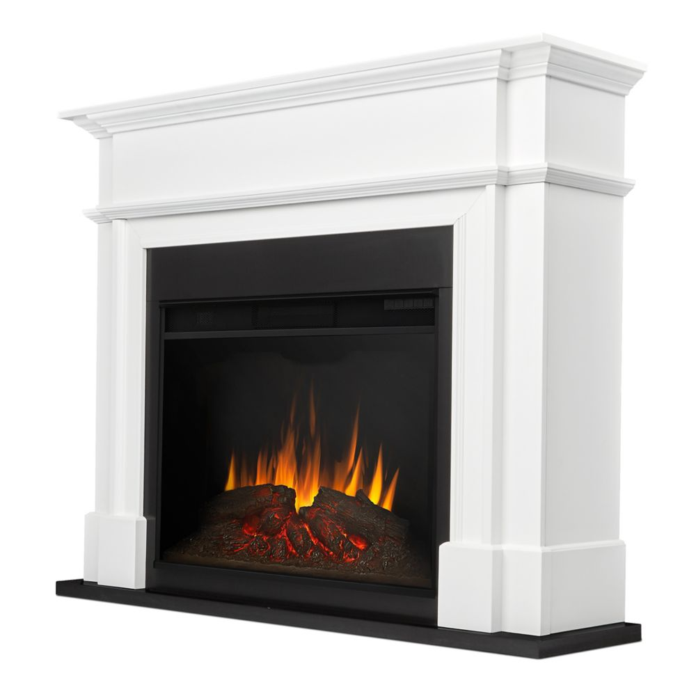 Real Flame Harlan Grand Electric Fireplace in White