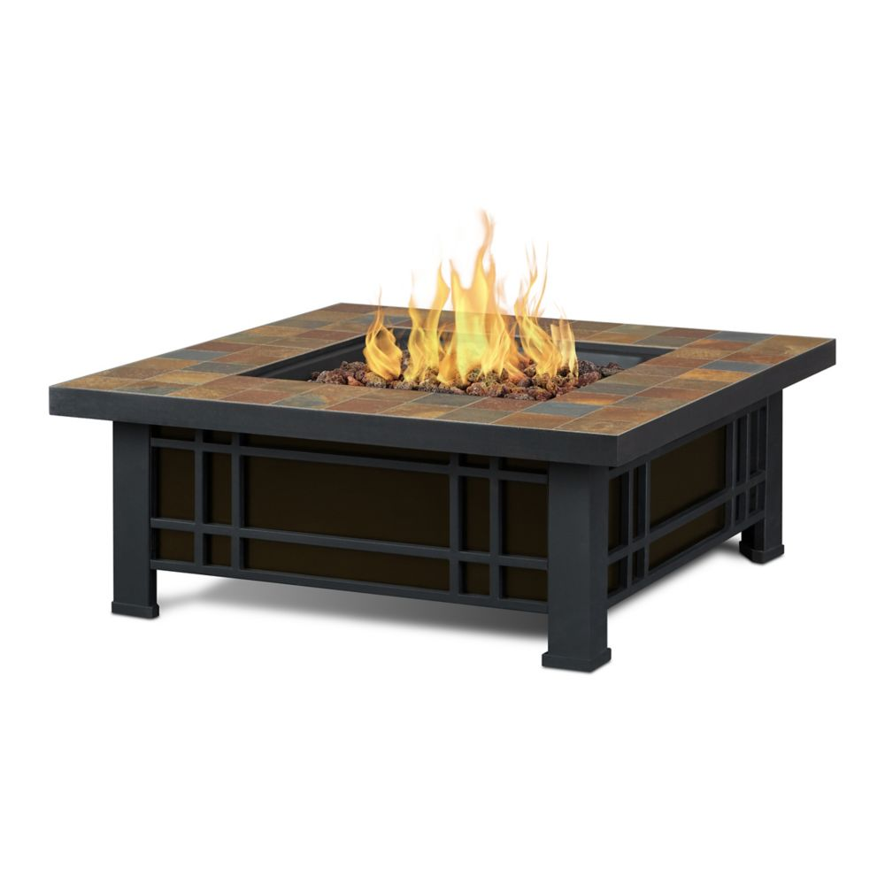 Real Flame Morrison Propane Fire Pit in Natural Slate Tile