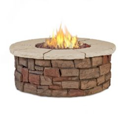 Real Flame Sedona Round Propane Fire Table with Natural Gas Conversion Kit in Buff