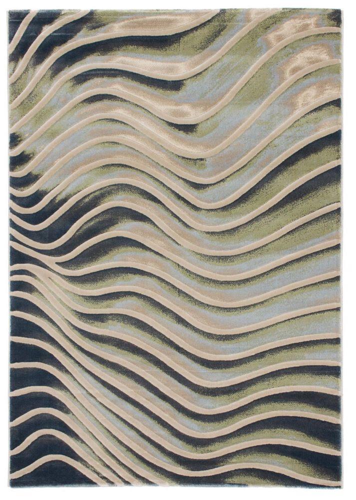 ECARPETGALLERY Abstract Green Grey 7 ft. 10-inch x 10 ft. Indoor Area Rug