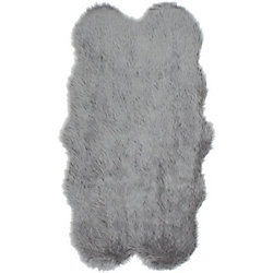 ECARPETGALLERY Le Royale Grey Faux Fur 3 ft. 2-inch x 5 ft. 9-inch Indoor Area Rug