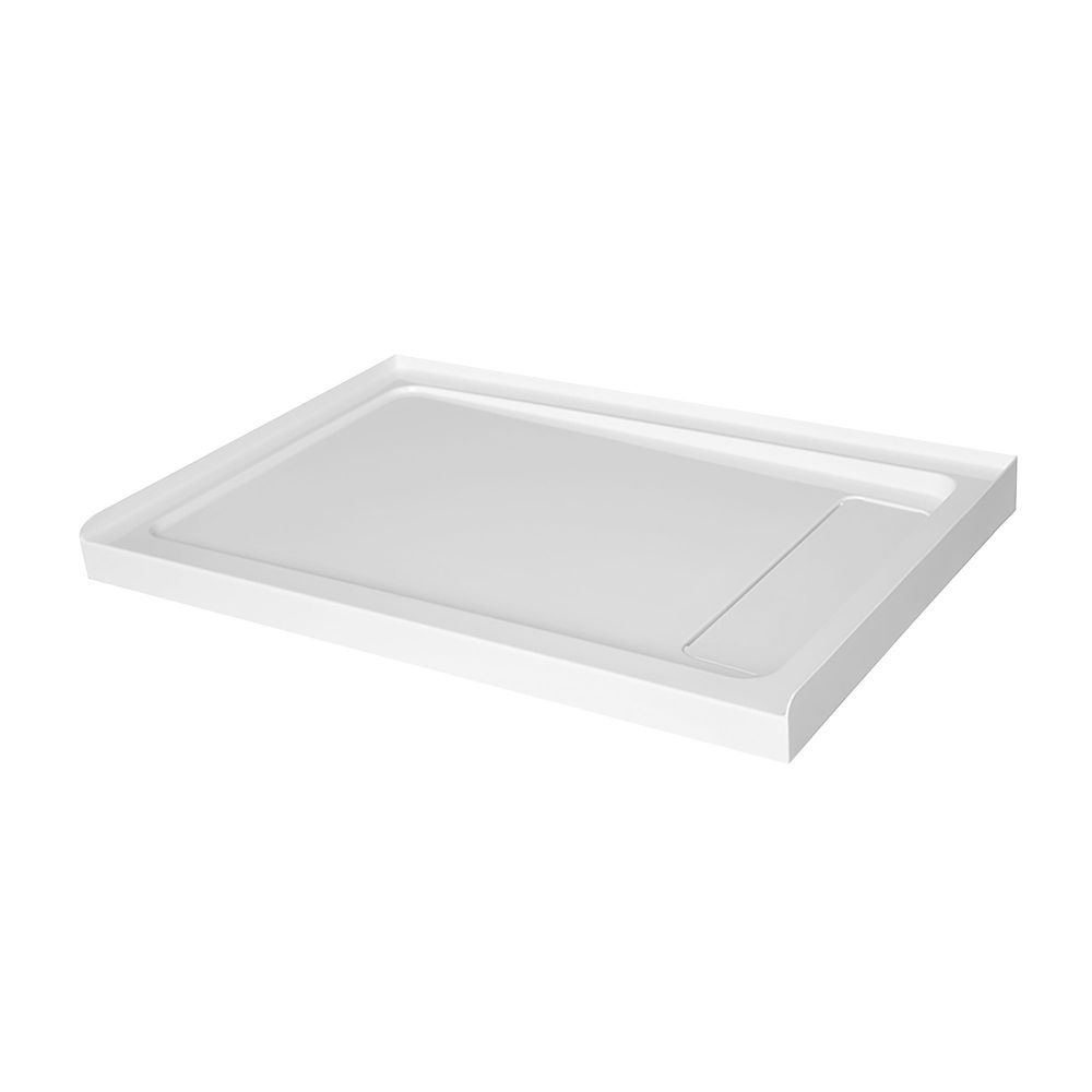 GLACIER BAY 48 inch x 32 inch Acrylic Shower Base with Right Concealed Drain