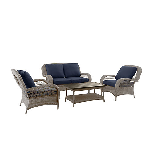 Beacon Park Steel 4 Piece Deep Seating Set - Gray Wicker/Navy Cushion