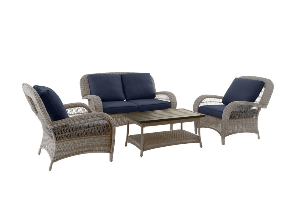 Hampton Bay Beacon Park Steel 4 Piece Deep Seating Set - Gray Wicker/Navy Cushion