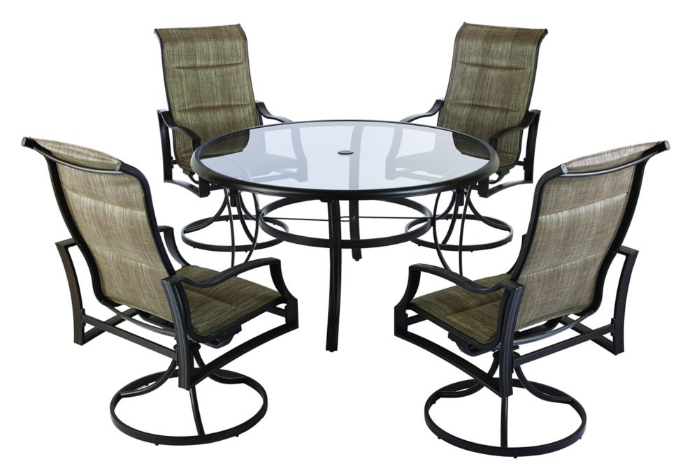 Hampton Bay Statesville 5-Piece Padded Sling Outdoor Patio Dining Set with 53-inch Glass Top