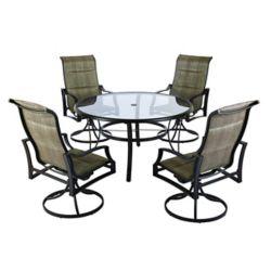 Hampton Bay Ensemble table avec plateau de verre 53 po et chaises de jardin pivotantes rembourrées Statesville, 5 pièces