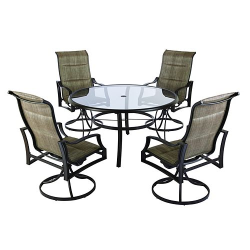 Hampton Bay Statesville 5-Piece Padded Sling Patio Dining Set with 53-inch Glass Top