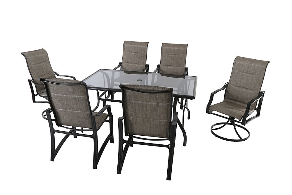 Ensemble table et chaises de jardin Statesville, toile matelassée, 7 pièces