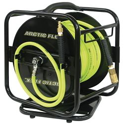 Performance Plus 100 ft. x 1/4 inch Manual Air Hose Reel with Hybrid Polymer Air Hose