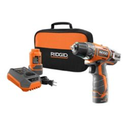 RIDGID 12-Volt Lithium-Ion 3/8-Inch 2-Speed Cordless Drill Kit with (2) 1.5Ah batteries