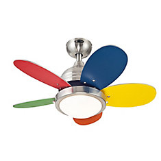 ROUNDABOUT 30 inch (76cm) LED Reversible Five-Blade Indoor Ceiling Fan in Multicolor
