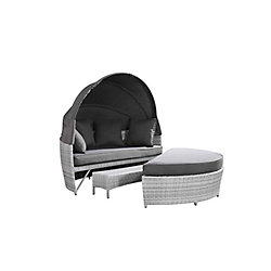 Velago Sogno Deluxe All-Weather Wicker Patio Day Bed in Light Grey with Grey Cushions
