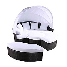 Sogno XL Gray All-Weather Wicker Patio Day Bed with White Cushions