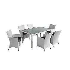 Chiasso Ensemble de salle à manger en osier blanc 7 pièces toutes saisons avec coussins gris