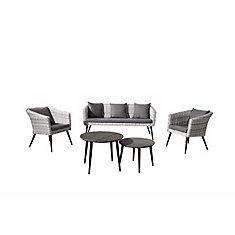 Rovio 5-Piece All-Weather Wicker Patio Conversation Set in Grey with Grey Cushions