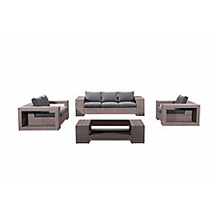 Someo Grey 4-Piece All-Weather Wicker Patio Conversation Set with Grey Cushions