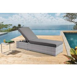 Velago Torino Light Grey All-Weather Wicker Chaise Lounger with Dark Grey Cushions