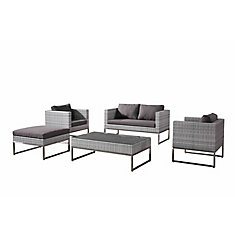 Capriasca Natural White 5-Piece All-Weather Wicker Conversation Set