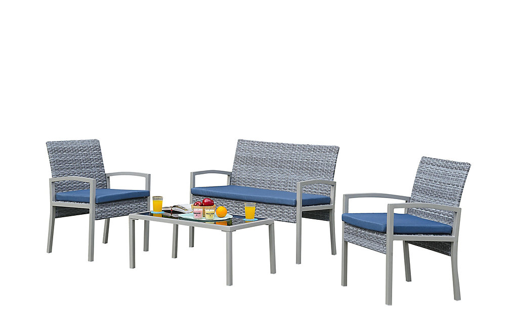 Biasca 4-Piece All-Weather Wicker Patio Conversation Set with Blue Cushions