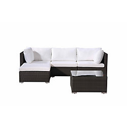 Velago Fresco 5-Piece All-Weather Wicker Patio Sectional Set in Charcoal with White Cushions