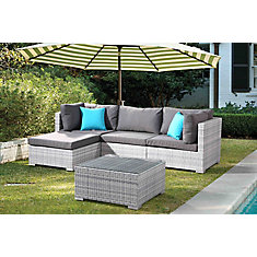 Fresco Light Grey 5-Piece All-Weather Wicker Sectional Set with Grey Cushions