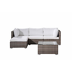 Fresco Beige 5-Piece All-Weather Wicker Sectional Set with White Cushions