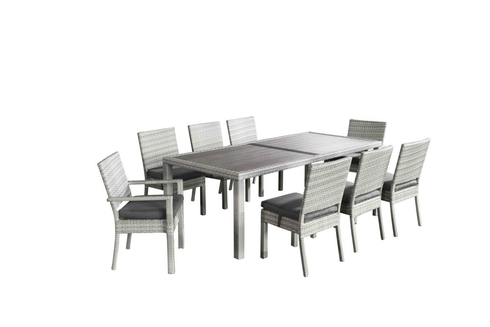 velago chiasso white 7 piece all weather wicker patio dining set rh homedepot ca