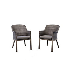 Crown View Two-Tone Grey Wicker & Steel Patio Dining Chair with Grey Seat Pad (2-Pack)