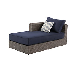 Home Decorators Collection Naples Wicker Right Arm Patio Sectional Chaise in Grey with Navy Cushion