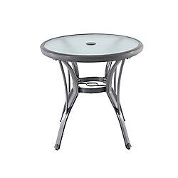 Hampton Bay Commercial Grade Aluminum Grey Round Outdoor Patio Bistro Table