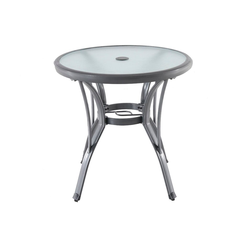 Hampton Bay Commercial Grade Aluminum Grey Round Outdoor Patio Bistro Table