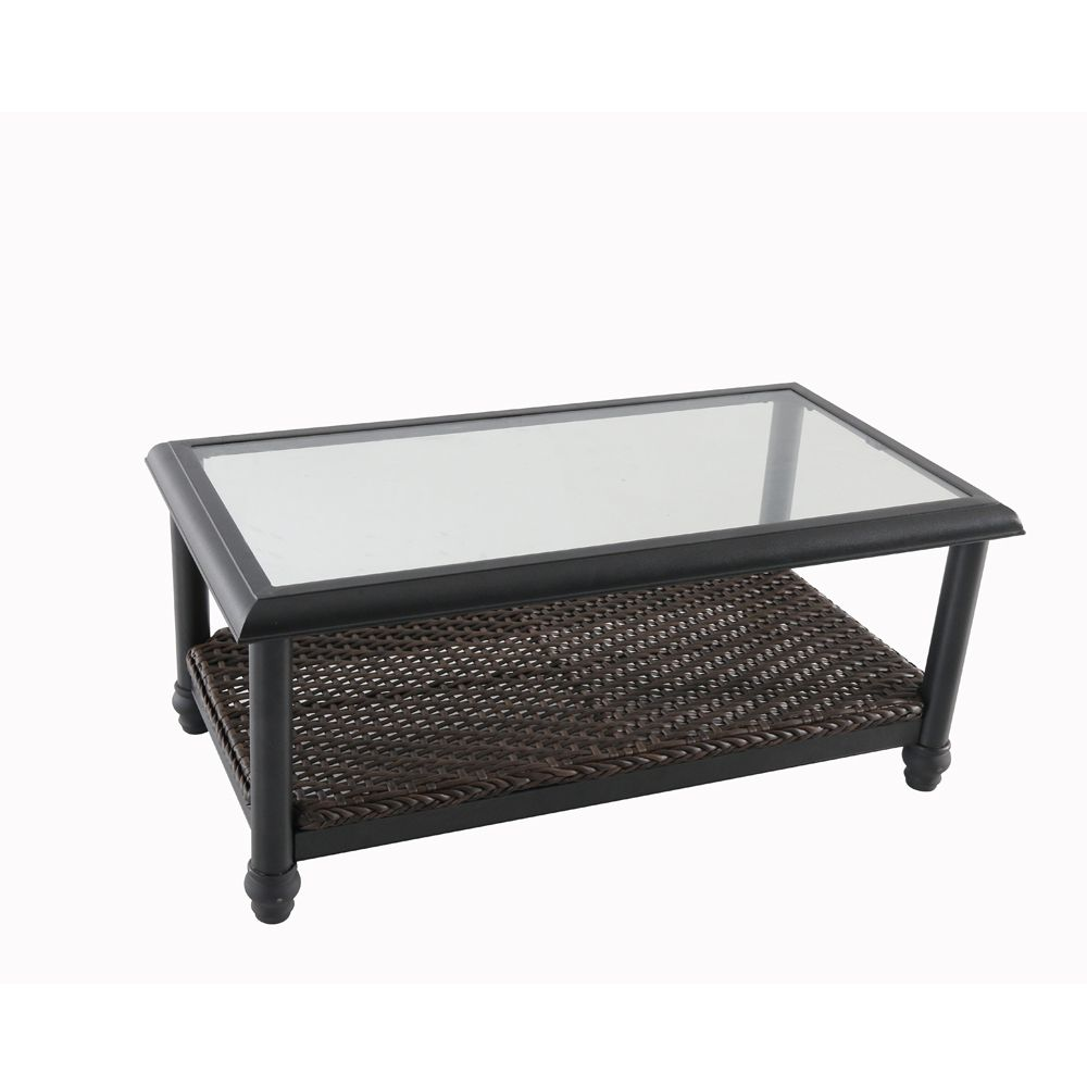 Home Decorators Collection Camden Dark Brown Wicker Outdoor Patio Coffee Table