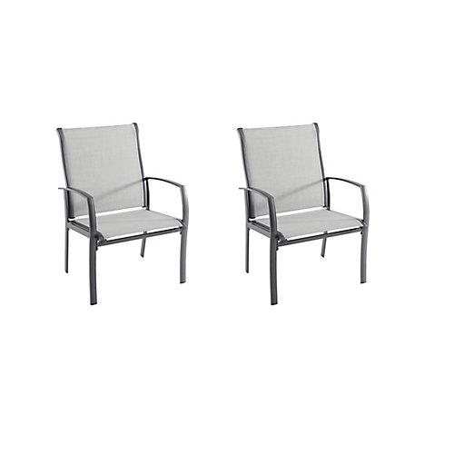 Commercial Grade Aluminum Oversized Patio Dining Chair in Sunbrella Augustine Alloy (2-Pack)