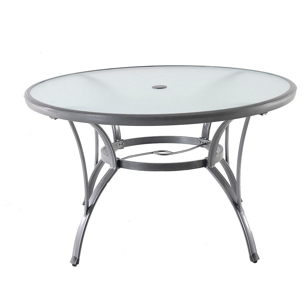 Table de jardin ronde en aluminium gris de qualité commerciale, 48 po