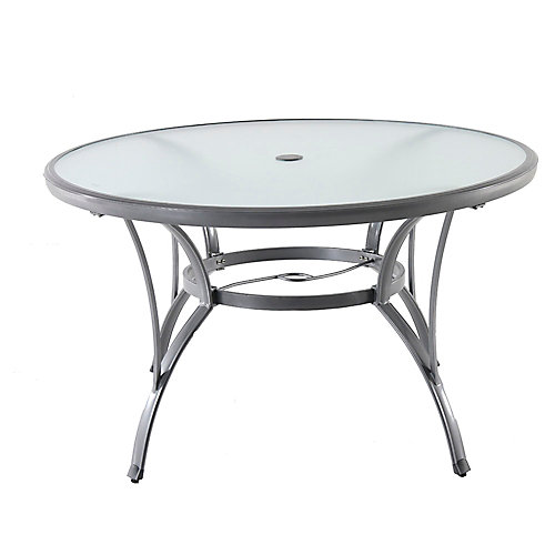 Commercial Grade Grey Aluminum Glass Top Round Patio Dining Table