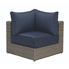 Naples Grey All-Weather Wicker Corner Outdoor Patio Sectional Chair with Hinged Cushions in Navy